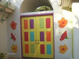 Hibiscus around doorway to patio