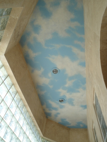 Sky over walk-in shower