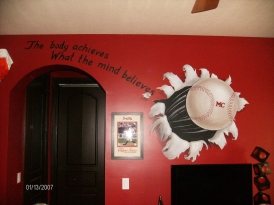 Trompe l'oeil of baseball flying into the room