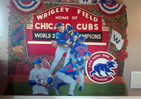 Baseball mural featuring the Chicago Cubs