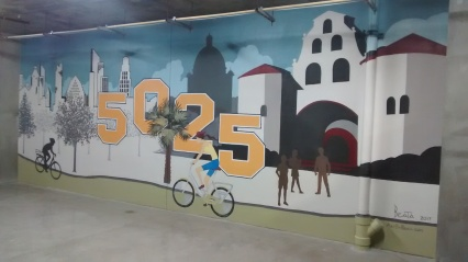 SDSU and the San Diego skyline - bicycle garage in apartment building