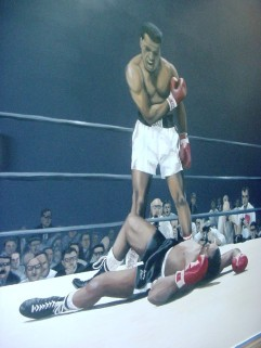Iconic mural of Muhammad Ali at a boxing gym in Hollywood, FL