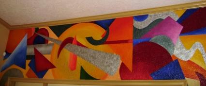 Abstrac mural inside an office