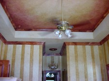 Dramatic red and gold ceiling faux finish