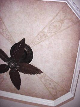 Subtle faux finish and hand painted design - bedroom ceiling