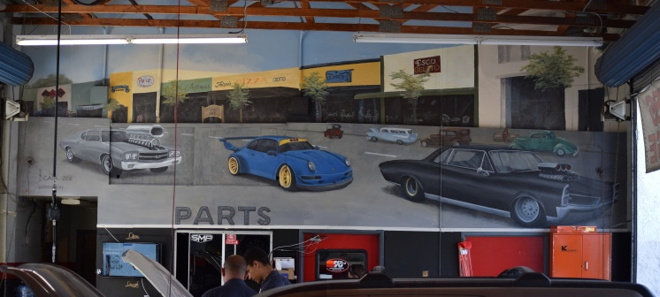 Large mural of The Cruisin' Grand in a shop in Escondido - https://www.yelp.com/biz/performance-auto-care-escondido