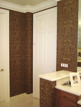 Master bathroom done in a rich chocolate faux effect