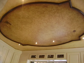 Architectural ceiling moldings with two faux finishes