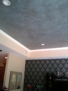 Blue and metallic ceiling faux finish - family room