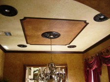Faux finished dining room walls and ceiling