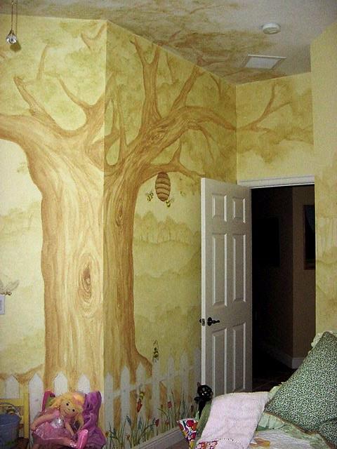 Tree mural in a kid's room