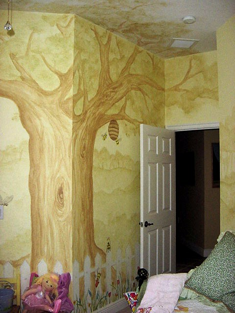 Tree mural in a kid's room
