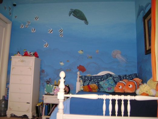 Underwater mural with sea turtle and fish