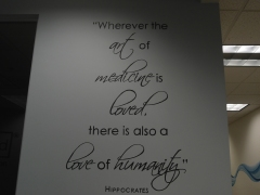 Inspirational phrase in the lobby of a medical facility