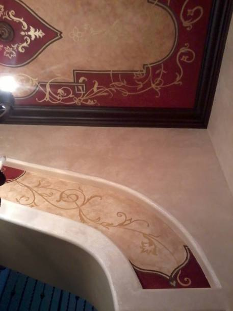 Morocco inspired gold and red foyer design