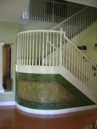 Rich fabric-insipred design that is like art under the stairs
