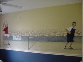 Tennis mural in a boy's room