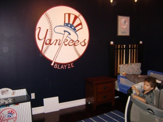 Baseball theme in a boy's room