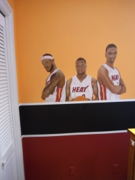 Basketball players mural