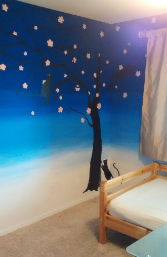 Blue ombre faux finish and tree mural