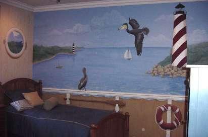 Boy's room nautical ship mural