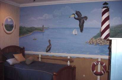Boy's room nautical ship mural