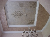 Tray ceiling faux finish and metallic hand-painted designs