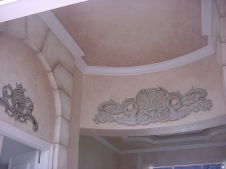 Foyer faux finish and trompe l'oeil faux carved stone design