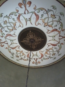 Large ceiling stencil design over a 30' spiral staircase