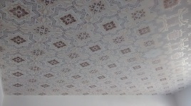 Damask ceiling stencil in gold and bronze metallic paint