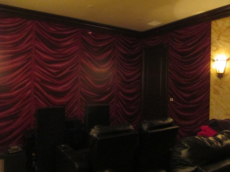 Painted drapes in a home theater