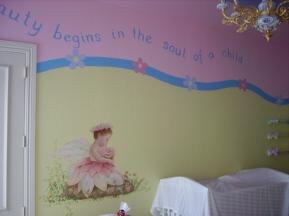 Baby girl pine and yellow room