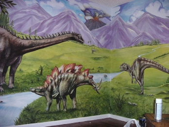 Prehistoric dinosaur mural for a boy's room