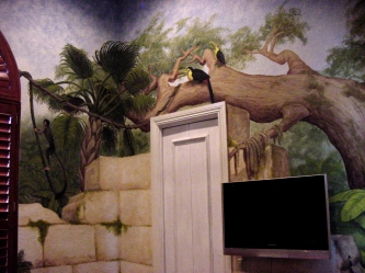 Jungle mural in a kid's room