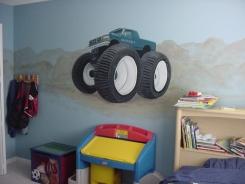 Monster truck boy's room mural