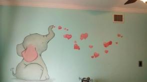 Baby elephant and hearts nursery