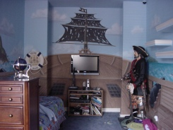 Boy's room pirate mural