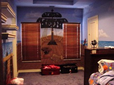 Pirate ship kid's room mural