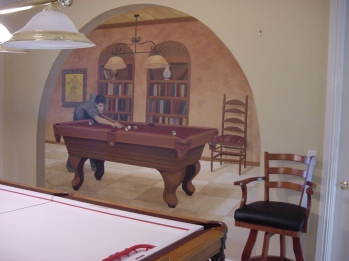 Realistic mural of Tom Cruise playing billiards