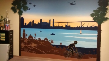 Iconic mural of San Diego, Balboa Park, Coronado bridge, and Chula Vista