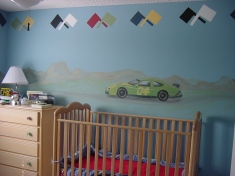 Boy's room Nascar theme mural