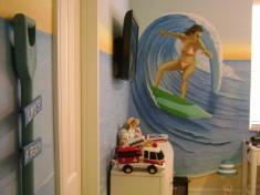 Teen girl loves to surf mural
