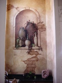 Fine art trompe l'oeil urns inside a niche