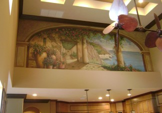 Large trompe l'oeil mural above a family room