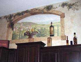 A trompe l'oeil window mural overlooks vineyards