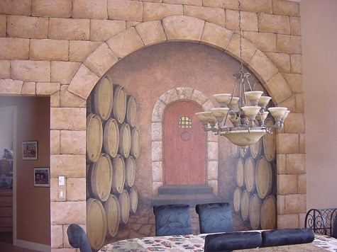 Faux stones and realistic looking doorway lead into a wine cellar