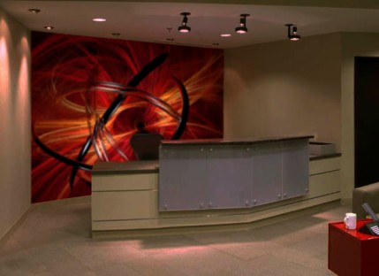 Dramatic accent office lobby wall
