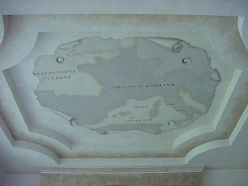 Large ceiling mural featuring a trompe l'oeil map