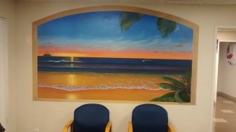 Trompe l'oeil window in a waiting room