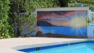 Poolside sunset mural